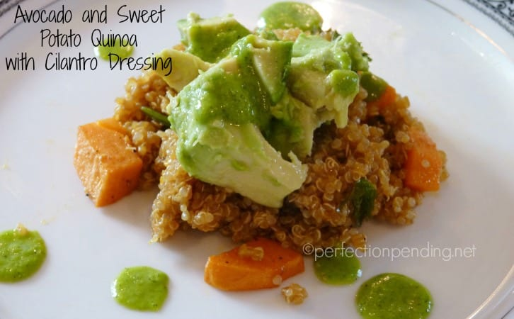 Avocado & Sweet Potato Quinoa with Cilantro Dressing. A SUPER yummy Vegan dish even meat eaters will love.