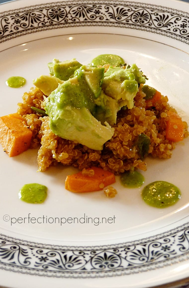 Avocado & Sweet Potato Quinoa with Cilantro Dressing. A super yummy vegan dish that even meat lovers will die over!!