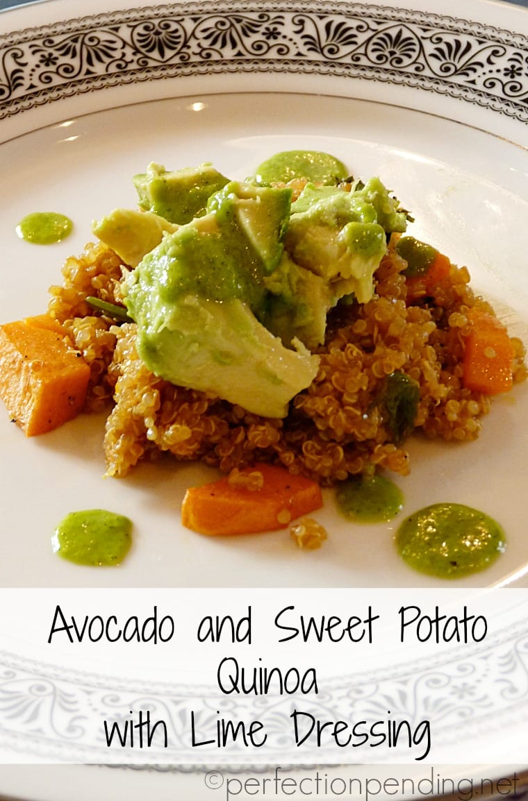 Avocado & Sweet Potato Quinoa with LIME dressing. The perfect light dinner. Vegan, and so full of flavor!