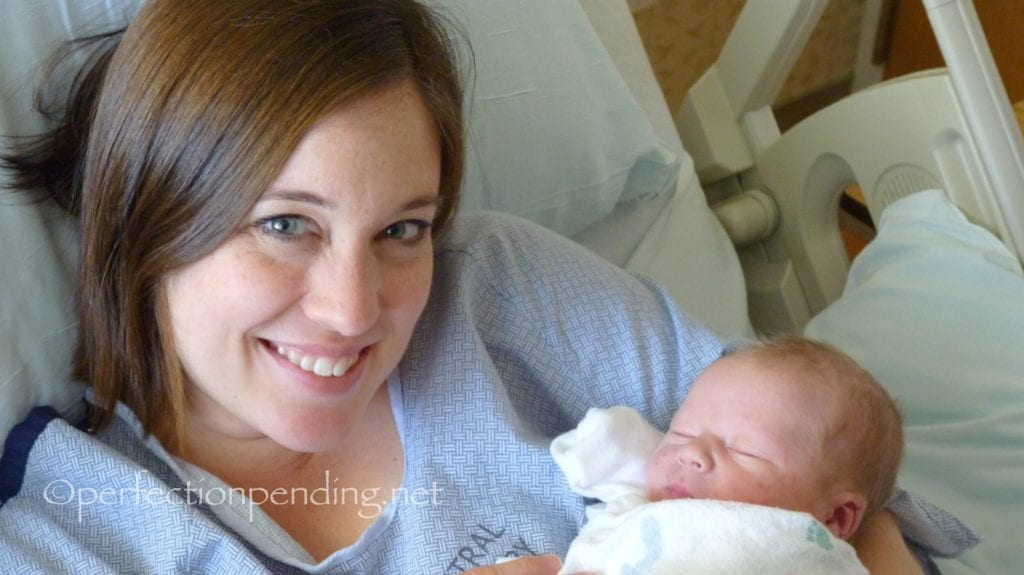 mom and baby at  hospital