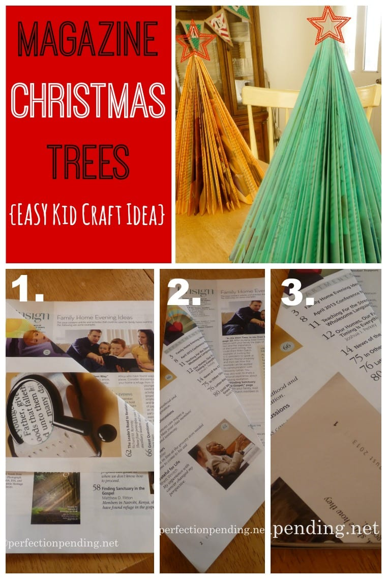 Easy Magazine Christmas Trees. Fun craft to keep little hands busy!