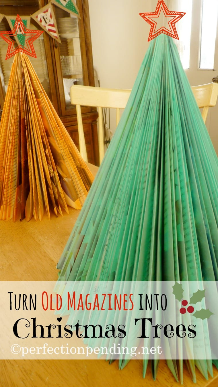 Magazine Christmas Trees! A simple craft to do with the kids. Turn old magazines into Christmas trees.