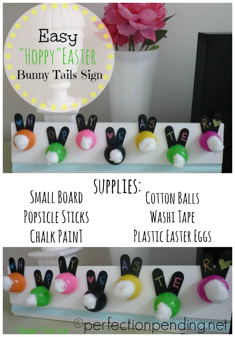 Easy Hoppy Easter Bunny Tails Sign. SUCH and easy craft to use up those eggs!