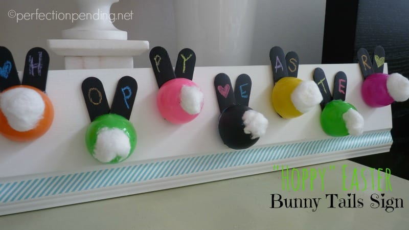 Hoppy Easter Bunny Tails Sign with Eggs and Popsicle Sticks