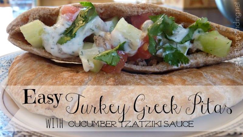 Turkey Greek Pitas with Cucumber Tzatziki Sauce