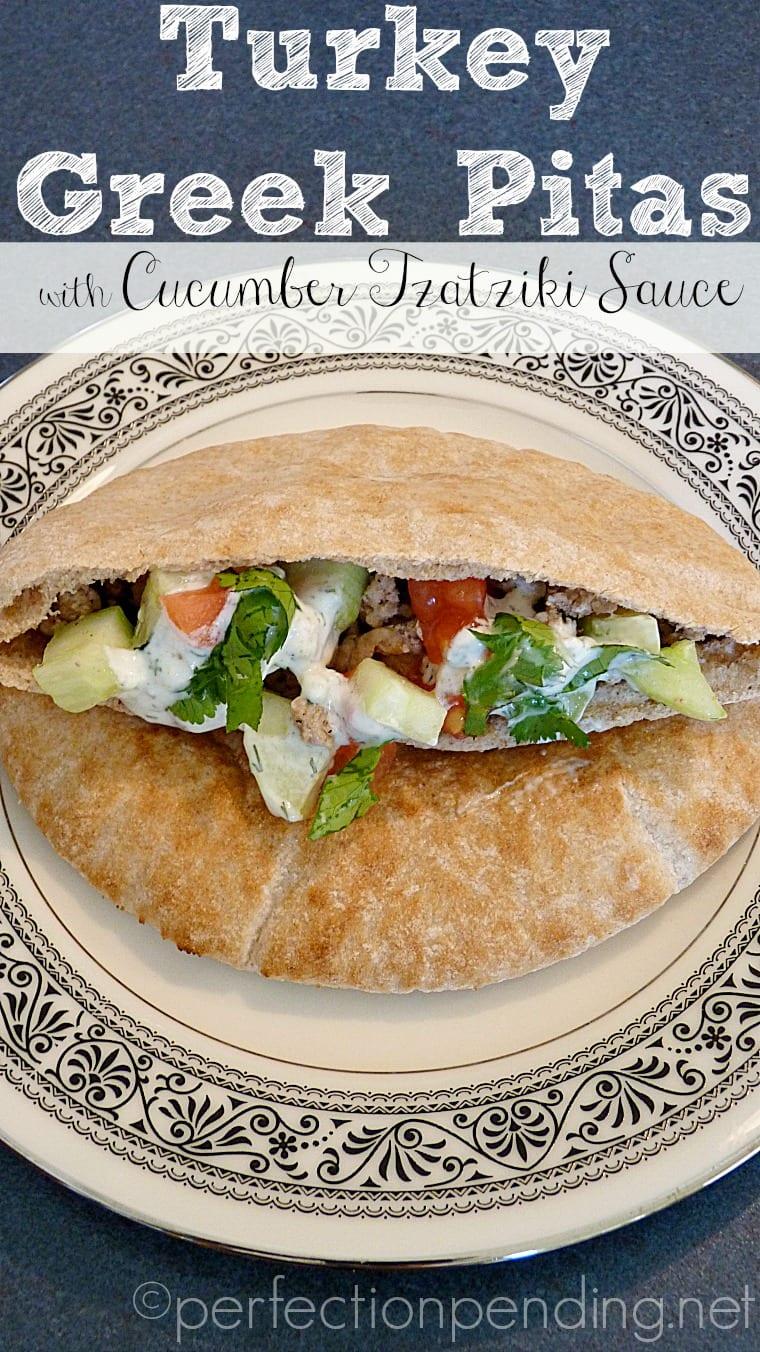 Turkey Greek Pitas with Tzatziki Sauce