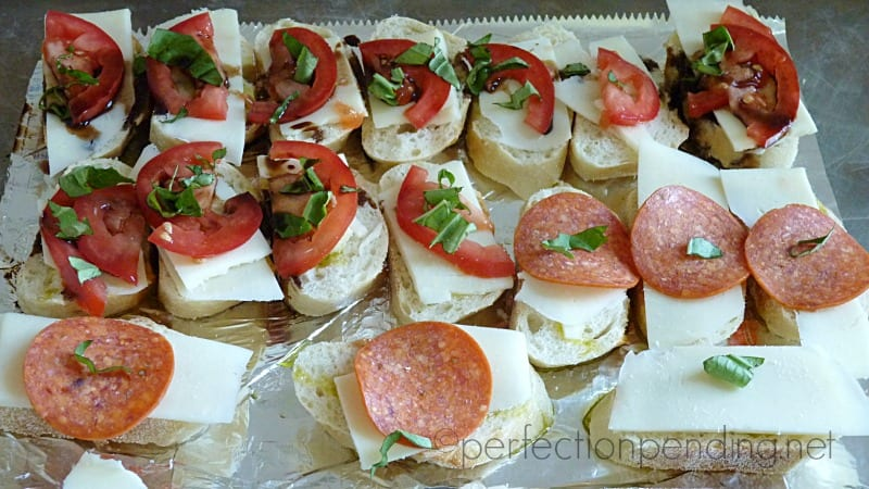 Baguette Bites for a Light and Easy Summer Dinner. Use Mozzarella and Pepperoni for the Kids