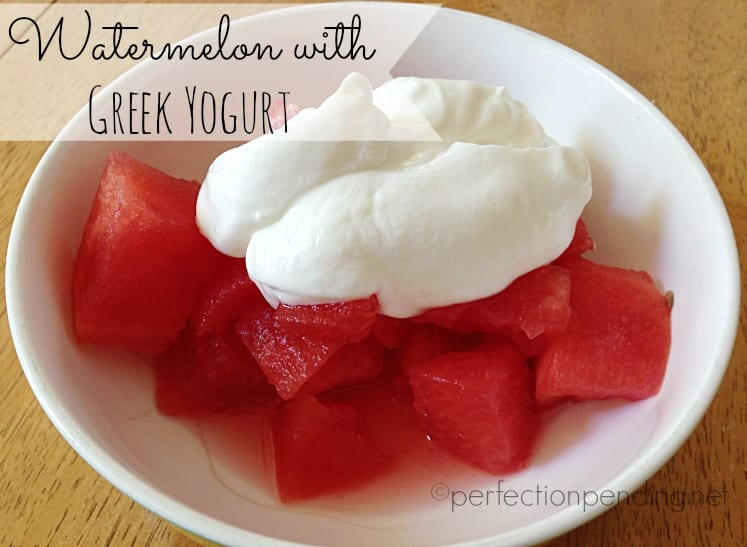 Watermelon Topped with Greek Yogurt. The Perfect Healthy Summer Snack. Such a Delicious Combo