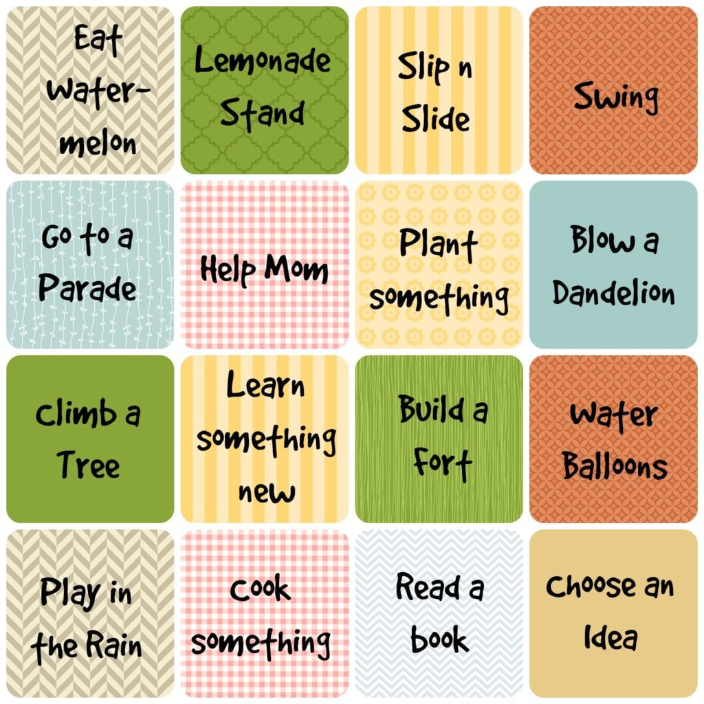 Summer Unplugged 3. Use these fun ideas to help your kids unplug this summer. Use them for bingo, to collect, or as an award system