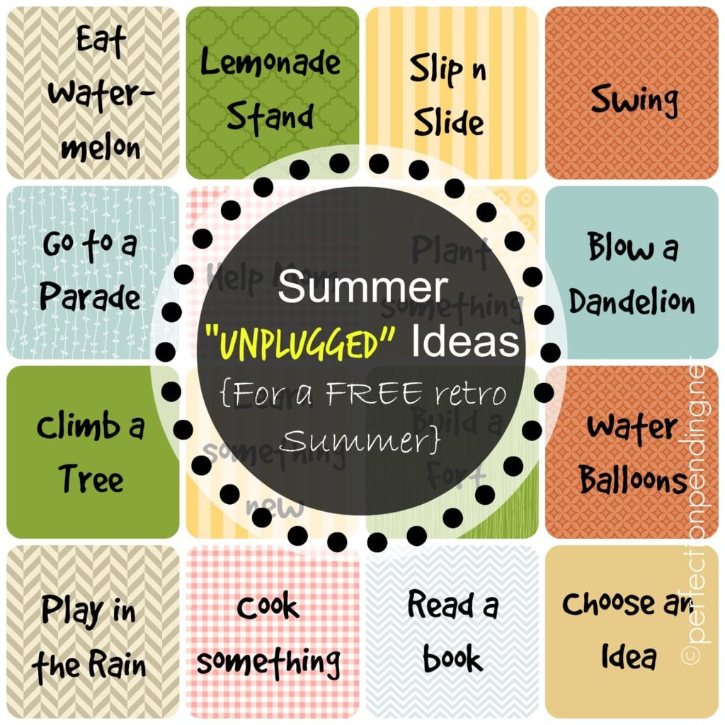 Summer Unplugged Ideas for a FREE Retro Summer. FREE Printables to use as incentives, a game, or just to collect