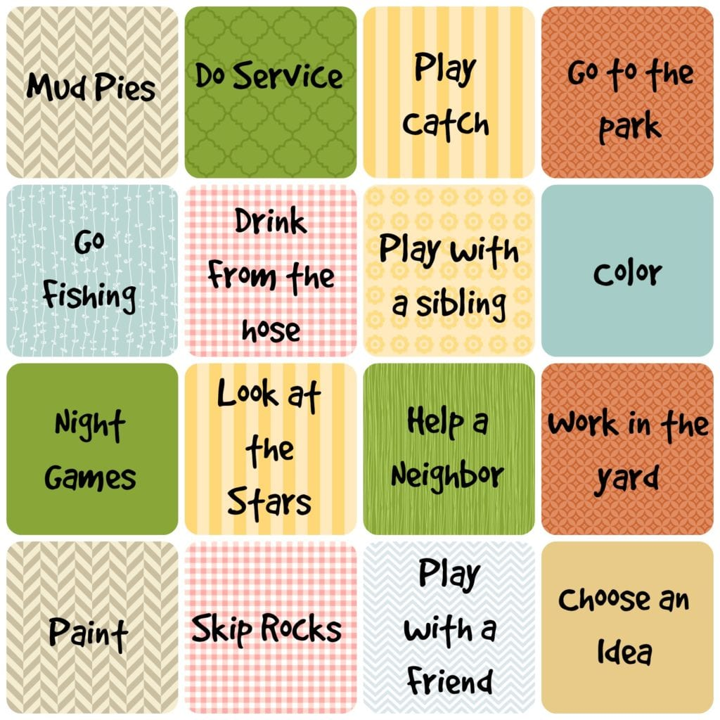 Unplugged Summer 2. Use these fun ideas to help your kids be unplugged. Give prizes, play bingo, put them on a keychain for them to collect all summer
