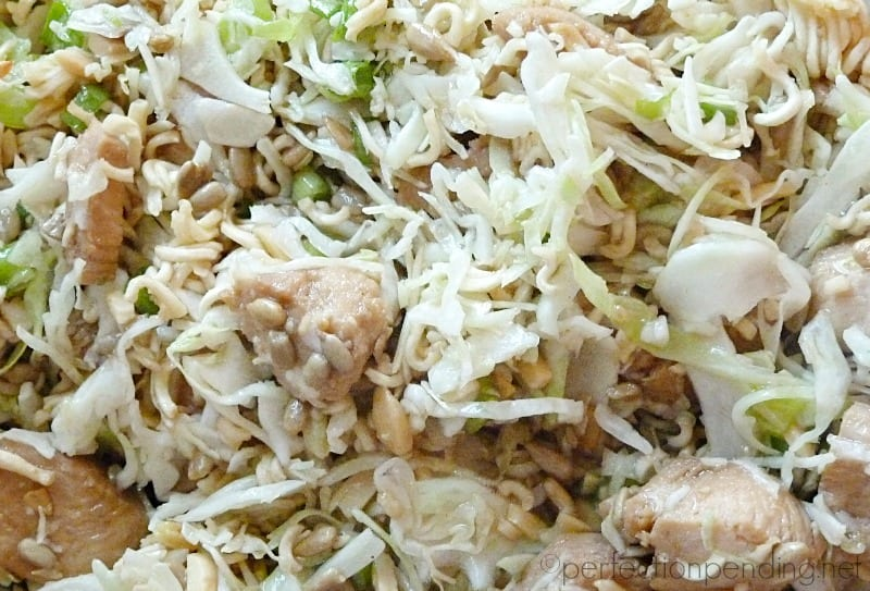 Asian Chicken Salad with Ramen and Sunflower Seeds