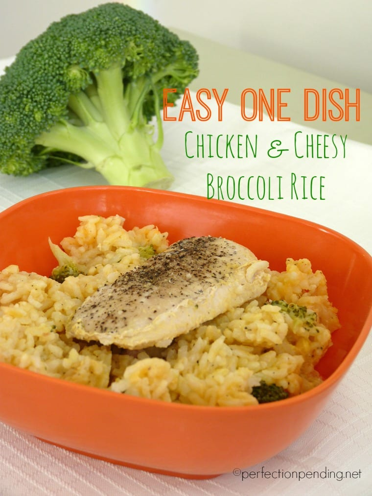 Easy One Dish Chicken & Cheesy Broccoli Rice. Throw it all in a baking dish and cook for one hour. SO simple!