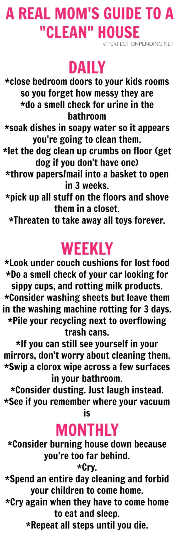 Keeping the house clean when you have kids is practically impossible - unless you use this real mom's version of a cleaning chart. #cleaning #house #parenting