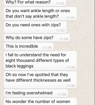 Woman Sends Boyfriend To Buy Her Leggings, And His Hilarious Texts To Her Have Gone Viral