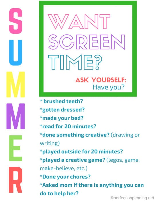free summer screen time checklist printable perfection pending