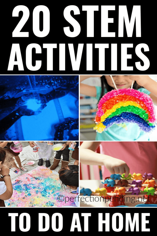 These 20 STEM Activities for kids that you can do at home are the perfect activities for summer, winter, or anytime you're trying to beat hearing, I'm Bored! from your kids. These activities are full of science, technology, engineering, and math that will have your kids learning and growing right at home. Perfect activities for all ages, too! #STEM #STEMactivities #activitiesforkids #kids #kidactivities #boredomebusters #indooractivities.