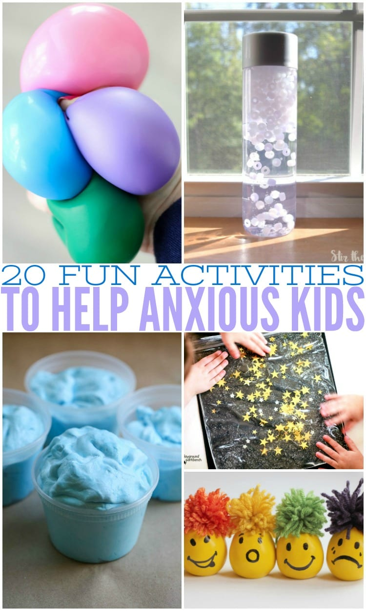 Kids often suffer with anxiety just like adults do. These kid activities to help the anxious kid in your life has tons of ideas like sensory play, and calm down strategies to help your child suffering from stress, anxiety, and anxiousness to overcome their struggles. These kid approved activities for the anxious kid are sure to be a help to your child that has anxiety. #anxiety #anxiouskids #kidswithanxiety #anxietyinkids #kidideas #stress #anxious #sensoryplay #kidactivities #activitiesforanxiety