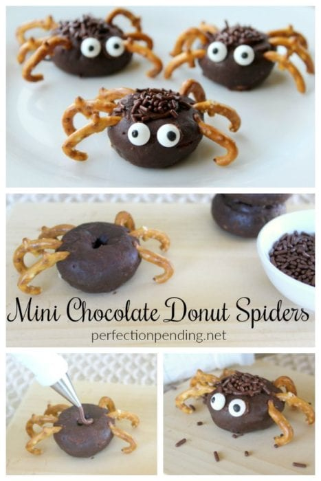 These mini chocolate donut spiders are the perfect Halloween treat idea for your class party, Halloween gathering, or for a fun halloween breakfast idea. They are SO easy to make - even your kids can make these kid friendly Halloween treats. #donutspiders #halloween #halloweentreat #cutehalloweentreatidea #Halloweenparty #halloweenfood #halloweendessert #halloweenbreakfast #spiderdonuts