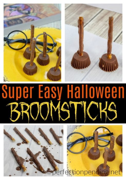 If you are a Harry Potter fan, these Harry Potter broomsticks make the perfect Halloween party food! If you're not planning a Halloween party, these are perfect for a Harry Potter party for any occasion. These easy, DIY witch's broomstick treats are fun for school parties, for work parties, for kids or for adults. #halloweentreats #halloweenpartyfood #halloween #halloweenfood #harrypotter #harrypotterparty #harrypottertreats