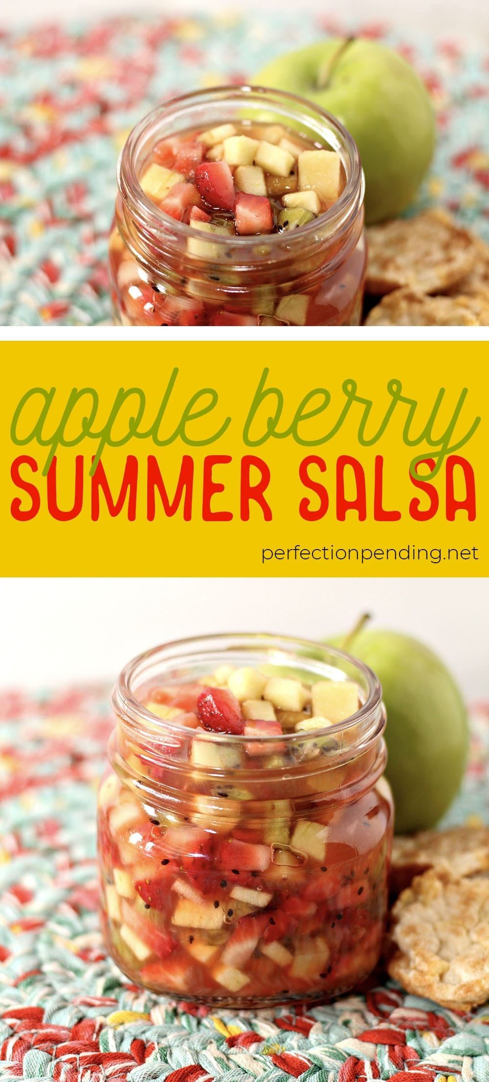This apple berry summer salsa is the PERFECT treat for the end of summer. It's sweet, refreshing, and soooo delicious! If you're looking for an easy fruit salsa recipe - you'll want to try this. It's a healthy fruit salsa everyone will love. Perfect for last minute barbecues, summer parties, playdates, and even birthdays. #fruit #fruitsalad #summerrecipe #summer #appleberrysalsa #summersalsa #sweetsalsa