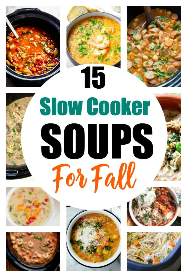 These 15 slow cooker soups are perfect for fall. Grab your crockpot and get one of these soup recipes ready in the morning so on busy weeknights, you have an easy meal hot and ready to go. These soup recipes are full of vegetables, beef, chicken, and more that make delicious weeknight meals for any family. #dinneridea #dinner #soup #souprecipes #fallrecipes #fallsoups #soupsforfall #easydinner #crockpot #slowcooker #crockpotsoups