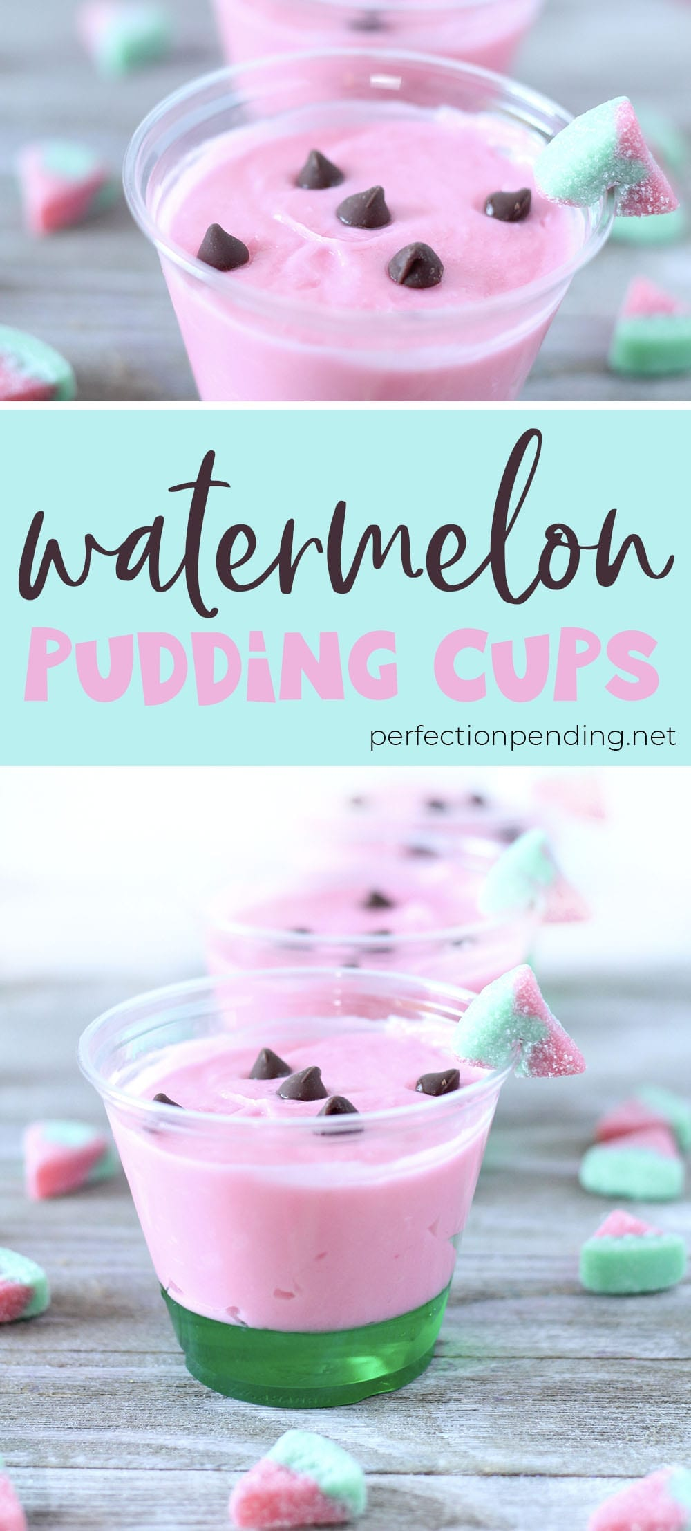 These watermelon pudding cups are the PERFECT summer treat just as the summer is coming to an end. They're sweet, fun, and so yummy! The kids will love them and so will the whole family. #watermeloncups #watermelon #summerdessert #cutesummertreat #summerideas #summertime