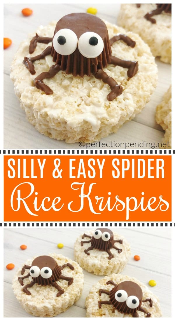 These Easy Spider Rice Krispie Treats made with reeses peanut butter cups are the perfect non-scary Halloween treat idea. With Silly candy eyes and your favorite rice krispies, these make a fun and easy halloween party treat. #halloween #halloweenparty #halloweenpartytreats #halloweenpartyideas #nonscaryhalloweentreats #halloweentreat #halloweenricekrispie