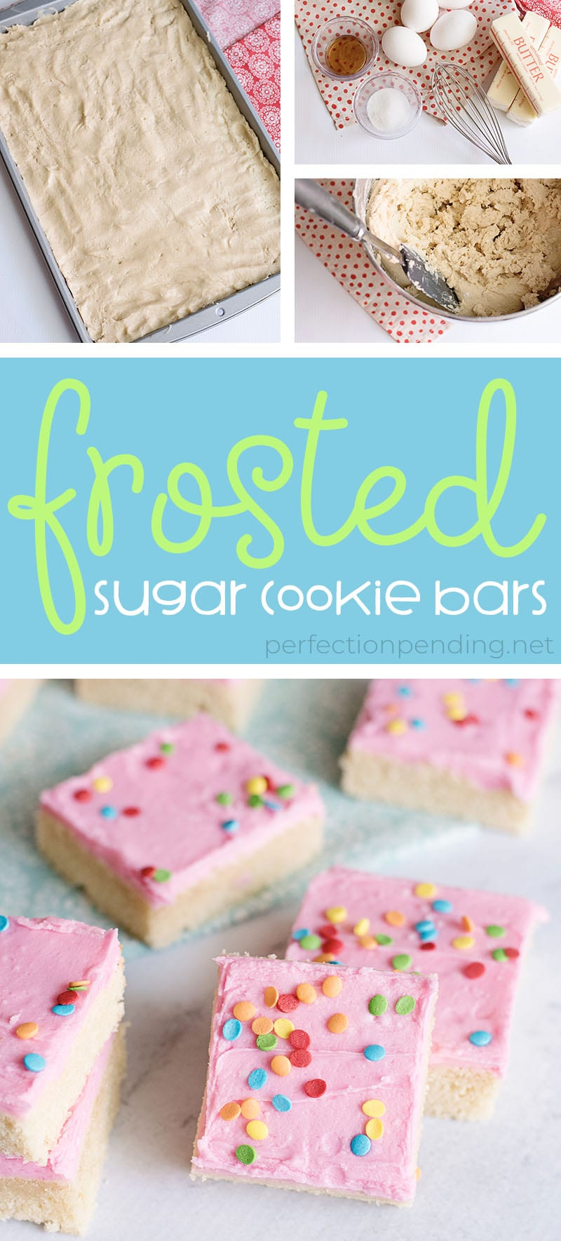 These frosted sugar cookie bars are THE BEST sugar cookie bars and an absolute must try! Between the sweet sugar cookie and the sweet fun frosting and sprinkles, these are such a delicious sweet treat! Not to mention they are some perfect soft and chewy cookie bars - my favorite type of cookie! Just scroll down below to find the full pan sugar cookie recipe! Super soft sugar cookies piled with delicious frosting and lots of sprinkles! Tastes just like a Lofthouse Sugar cookie, and so easy to bake since they're in bar form. #sugarcookie #sugarcookies #sugarcookierecipe #sugarcookiebars #cookierecipe #softsugarcookie #lofthousecookies