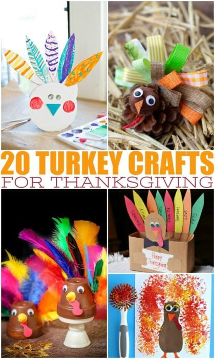 These easy turkey crafts for Thanksgiving make the perfect fall activities to do with your kids, or a fun activity to do on Thanksgiving with the entire family. #fallideas #thanksgivingideas #turkeycrafts #craftideas #kidideas #thanksgiving #turkeyactivities #Fallactivities