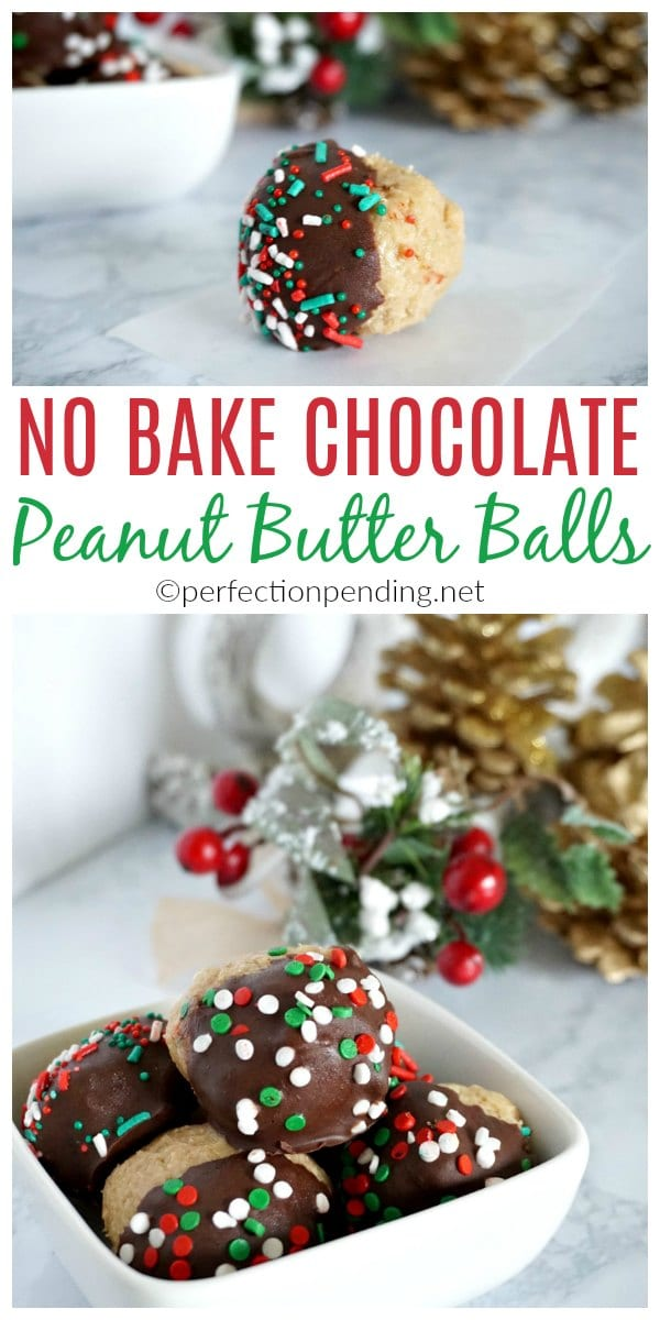 These peanut butter balls are the perfect no bake Christmas treat to give out to neighbors. They are a fast Christmas dessert idea that look festive, and combine the favorite flavors of peanut butter and chocolate. The best part, is that it is a Christmas treat idea that comes together in 30 minutes. #christmastreat #christmasdessert #neighborgifts #giftideas #peanutbutterballs #chocolateandpeanutbutter