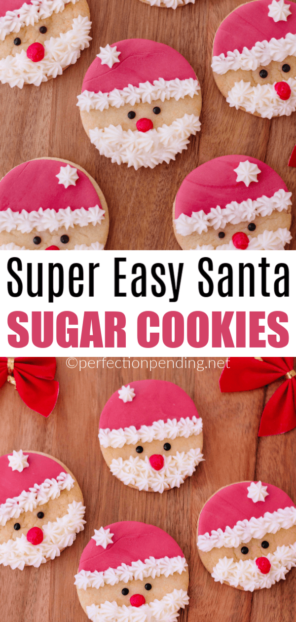 These santa sugar cookies are so easy to make and are the perfect Christmas cookie to give out to neighbors and friends, or to just make for fun at home. #christmascookie #christmascookies #santacookies #santasugarcookies #sugarcookierecipe #cookierecipe