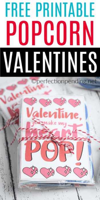Make these You Make My Heart POP! Valentines Day Printable. It's the perfect Non-Candy Valentine Idea that can be paired with microwave popcorn, or popcorn boxes, or even with boom chicka pop bags. There are so many ways to use this Punny Popcorn Valentine Printable. #valentineprintable #popcornvalentine #noncandyvalentine #valentinesday