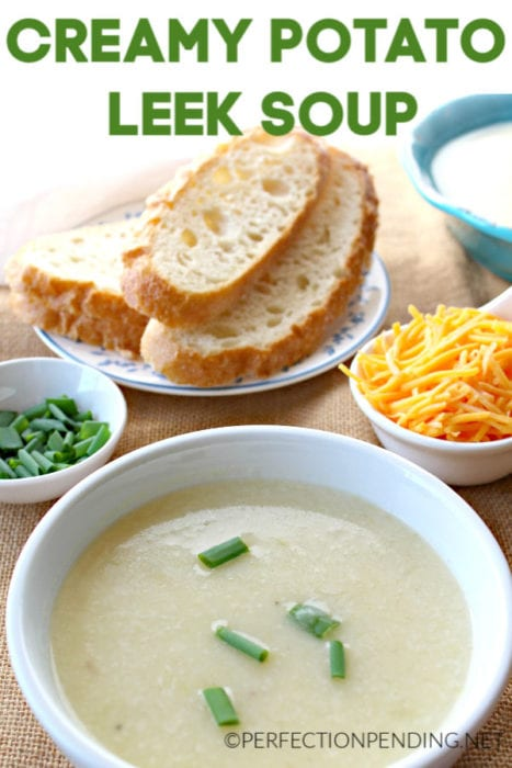 This creamy potato leek soup is a French classic that's easy to whip up and will warm you up on a cold Fall or Winter day. With only 8 ingredients, and just a few minutes of prep you can make this potato soup that pairs perfectly with warm crusty bread. #leeksoup #potatosoup #souprecipes #easysoup