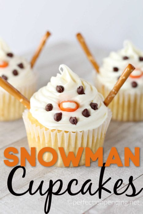 These easy snowman cupcakes kids can make are the perfect winter cupcakes. With creamy buttercream icing, chocolate chips, pretzels, and candy corn, you've got yourself the cutest snowman cupcakes your kids can make! If you're looking for a fun indoor activity, these snowman cupcakes will be a perfect idea for a snowy cold day. #kidideas #snowmancupcakes #indooractivities